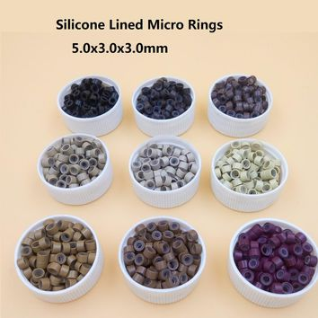 1000pcs 5mm  Micro Ring Beads Silicone Bead Link microring for  Feather Human Hair Extension tools