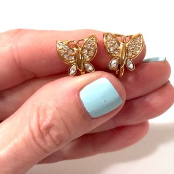 Rhinestone Butterfly Earrings  Signed Monet  Gold Tone  Adjustable Clip On Earrings Mid Century Butterfly Jewelry Vintage 1960s Gift For her