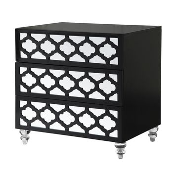 Salvadore Modern Mirrored Lacquer-Finish Lucite Leg Side Table - Midnight Black
