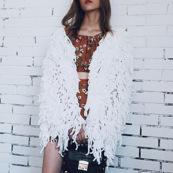 White Tassel Open Front Faux Fur Coat