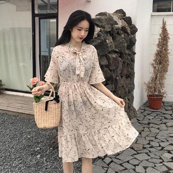 luxury Women Vintage Dress 2018 korean Summer temperamental fresh Floral chiffo Dress Vadim Plus Size Gown maxi Dresses