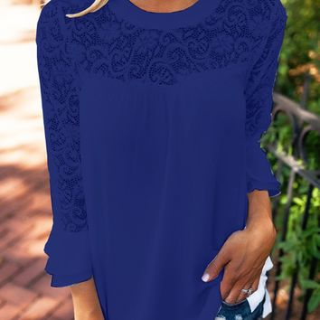 Scoop Neck Pure Color Lace Chiffon Patchwork Blouse