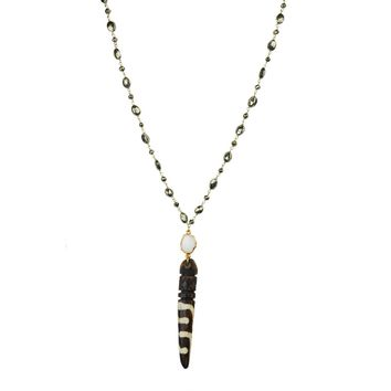 Pyrite With Horn Pendant Necklace