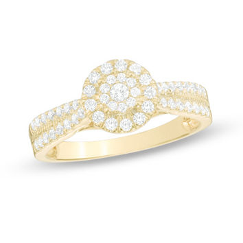 1/2 CT. T.W. Composite Diamond Frame Engagement Ring in 10K Gold