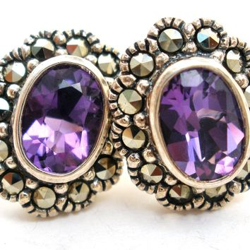 Amethyst & Marcasite 2 Ct Pierced Earrings 925