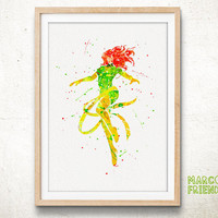 Marvel Girl, Phoenix - Watercolor, Art Print, X-Men Home Decor, Gifts, Nursery Wall Art, Watercolor Print, Superhero Poster