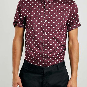 Burgundy Heart Print Cotton Sateen Short Sleeve Smart Shirt - Men's Shirts - Clothing