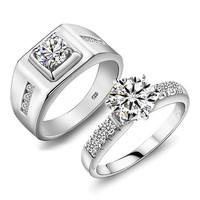 2PCS 1.3+1.5 CT Platinum promise rings,couple rings,wedding bands,lovers rings, engagement rings,his her rings, wedding rings
