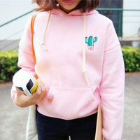 Cactus fleece hooded sweater coat