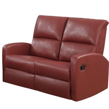 Reclining-Loveseat Red Bonded Leather