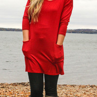 Button Back Tunic - Red