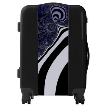 Blue and black striped fractal. luggage