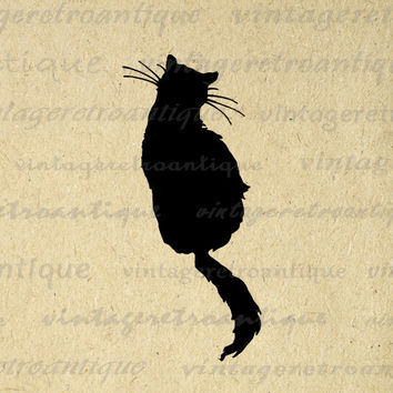 Printable Graphic Cat Silhouette Image Animal Artwork Download Digital Vintage Clip Art for Transfers Making Prints etc HQ 300dpi No.3668