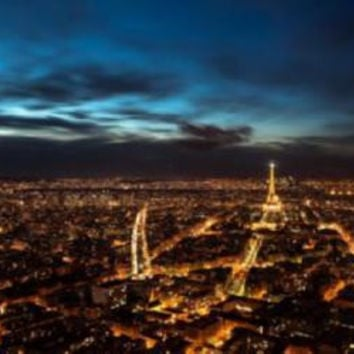 Paris At Night Skyline Mini Poster #01 Eiffel Tower 11x17 Mini Poster