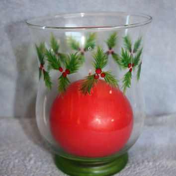 Hand Painted Glass Christmas Holly Candle Holder & Candle