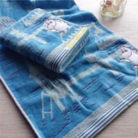 Original Moomin Ocean Sea Conch Cute Long Face Hand Towel Sheet Gift Collection 75*35cm