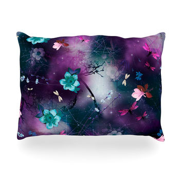 "Fernanda Sternieri ""Fairy Tale"" Purple Floral Oblong Pillow"