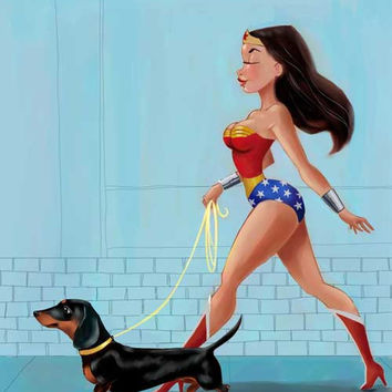 Wonder Woman walking a Dachshund Black and Tan