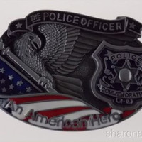 Police Officer Belt Buckle An American Hero Metal Badge Eagle USA Flag Color 3D