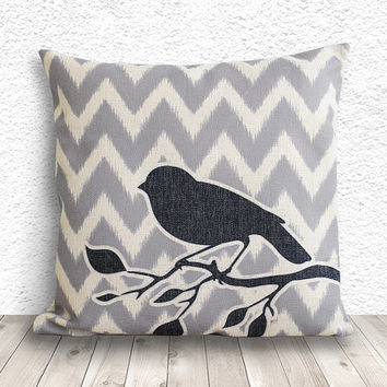 Pillow Cover, Pillow Case, Cushion Cover, Linen Pillow Cover 18x18 - Printed Bird Chevron - 092