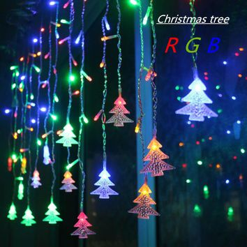4.5M 96 Leds Curtain Christmas Tree Icicle String Lights Fairy Lights Christmas New Year Lights Wedding Party Decoration EU 220V