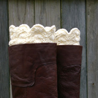 Boot Cuffs in Cream Crochet Boot Toppers Boot Socks