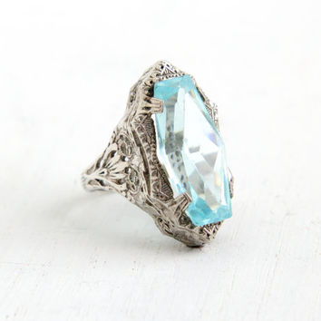 Vintage Art Deco Simulated Aquamarine Ring- Antique Size 3 3/4 1920s 1930s Sterling Silver Filigree Glass Jewelry
