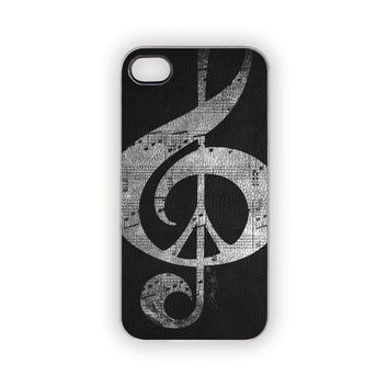 Black iPhone Case, Music & Peace, Faux Leather Case, Edgy, Protective, Rustic, Industrial, Black, Gray, Men, Him, Her, Country, Trophy
