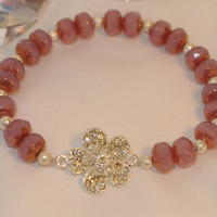 Wrapped in Roses - czech crystal with swarovski crystal flower