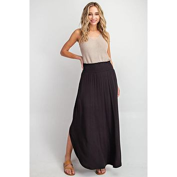 Smocked Maxi Skirt in BLACK