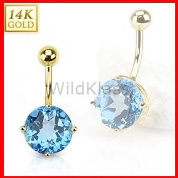 14k Solid Gold Ring 14g Belly Button Ring Swiss Blue Topaz 14k Yellow Gold 14g Navel Ring Navel Jewelry Belly Button Jewelry