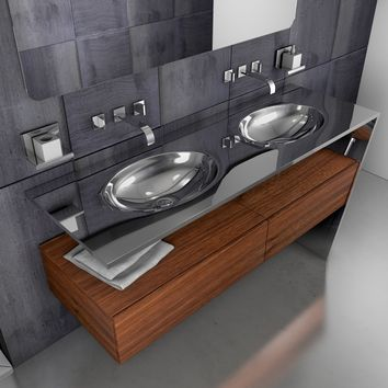 "Sette 60-3/8"" Double Sink Master Bathroom Vanity Console Steel and Solid Wood - THA Sink"