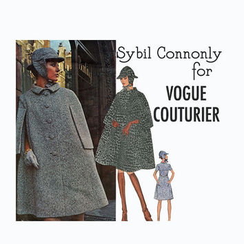 1970s SYBIL CONNOLLY Couturier Design Mod A-Line Dress Cape Ear-Flap Hat Vogue 2402 Bust 36 UNCUT Vintage Sewing Patterns w/ Original Label