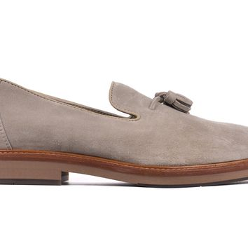 Brunello Cucinelli Mens Grey Suede Tassel Slip On Loafers