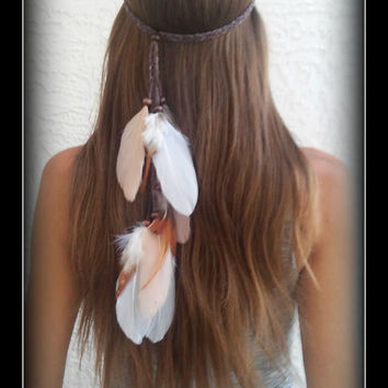 Native American Style, Feather HeadBand, white feather headband, feather headpiece, feather hair, free people, natural, nature, whimsical
