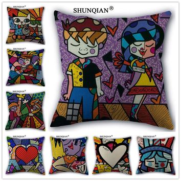 Y517-13 Custom Pillowcase Romero Britto Cotton Linen One Side home Classical Pillow Covers 45x45cm