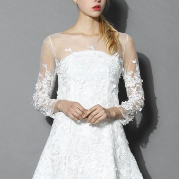 Frozen Floral Mesh Dress in White