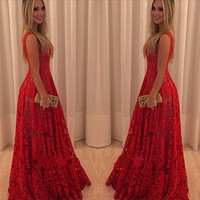 Red Sleeveless Floral Lace Maxi Dress