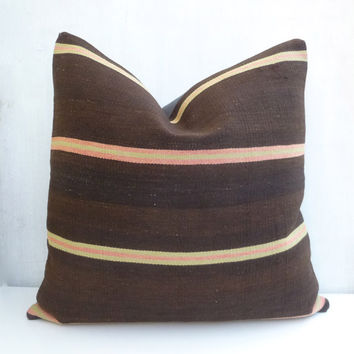 Large Brown Kilim Pillow cover with Stripes, 50x50 cm