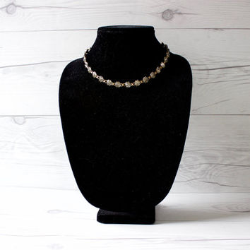 Vintage Bal-Ron Gold Filled and Diamond Rhinestone Necklace | Costume Jewelry