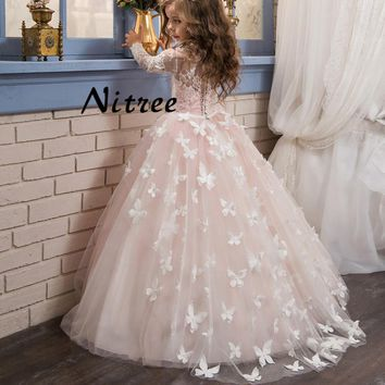 Pink Butterfly Flower Girl Dress Long Sleeves