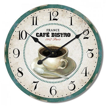 CAFE BISTRO Large Wall Clock 24x24 Inches Shabby Shic Style, Mdf Wood Wall Decoration