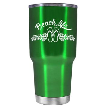 Beach Life Flowers and Sandals on Translucent Green 30 oz Tumbler Cup