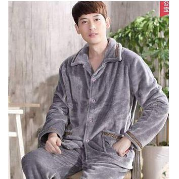 winter autumn plus size flannel pajamas thick men coral fleece pajama sets sleepwear long-sleeve male nightgown warm lounge set