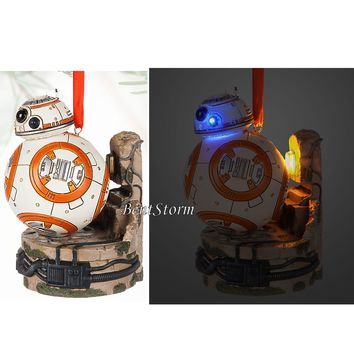 Licensed cool 2016 Disney Store Star Wars FORCE AWAKENS BB-8 Droid LIGHT UP Christmas Ornament