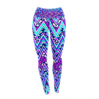 "Nika Martinez ""Blue Electric Chevron"" Yoga Leggings"
