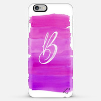 Purple White Brush Strokes Custom Slim Phone Case with Initial