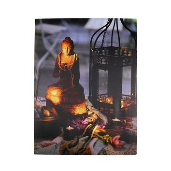 """LED Lighted Flickering Garden Party Lantern with Hindu Buddha Canvas Wall Art 15.75"""" x 11.75"""""""