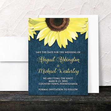 Sunflower Save the Date Cards - Rustic Country Denim Floral - Rustic Sunflower Yellow Blue - Printed Flat Cards