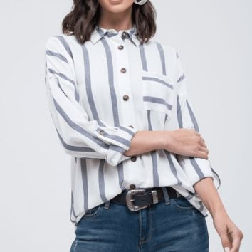 Women's Button Down Striped Top